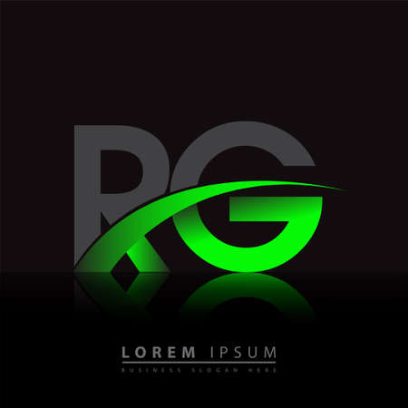 initial letter RG company name colored green and black swoosh design. vector for business and company identity.