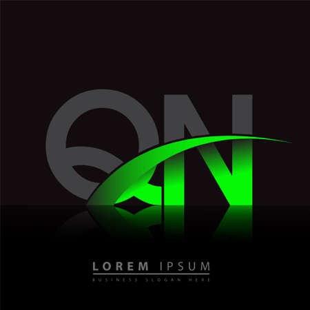 initial letter QN company name colored green and black swoosh design. vector for business and company identity.