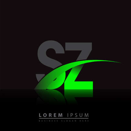 initial letter SZ company name colored green and black swoosh design. vector for business and company identity.