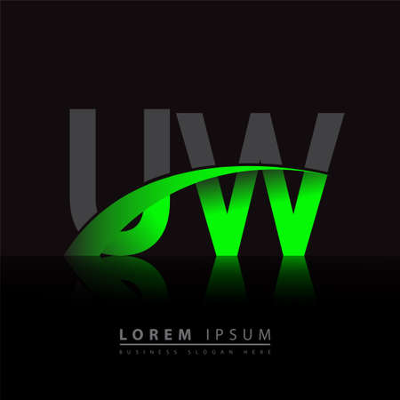 initial letter UW company name colored green and black swoosh design. vector for business and company identity.