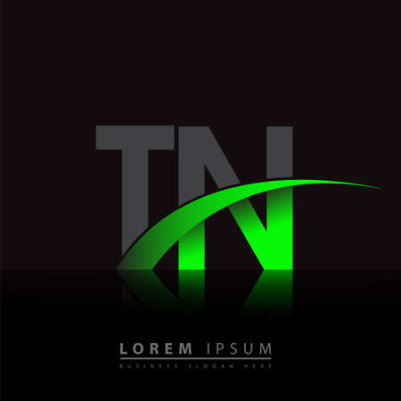 initial letter TN company name colored green and black swoosh design. vector for business and company identity.