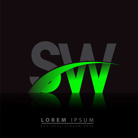 initial letter SW company name colored green and black swoosh design. vector for business and company identity. 向量圖像