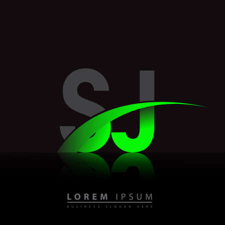 initial letter SJ company name colored green and black swoosh design. vector for business and company identity. 向量圖像