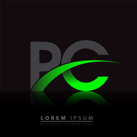 initial letter PC company name colored green and black swoosh design. vector for business and company identity. 向量圖像