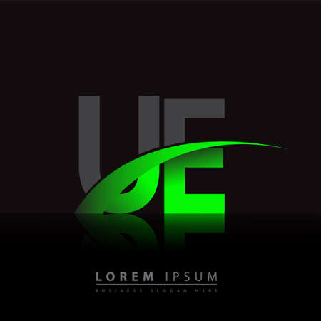 initial letter UE company name colored green and black swoosh design. vector for business and company identity.