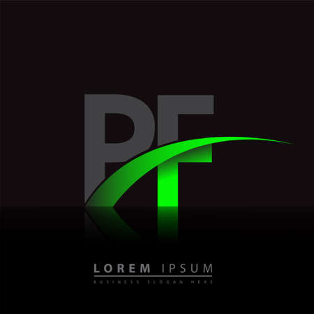 initial letter PF company name colored green and black swoosh design. vector for business and company identity.