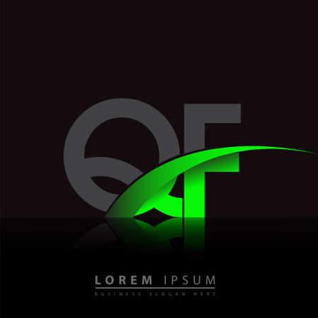 initial letter QF company name colored green and black swoosh design. vector for business and company identity. 向量圖像
