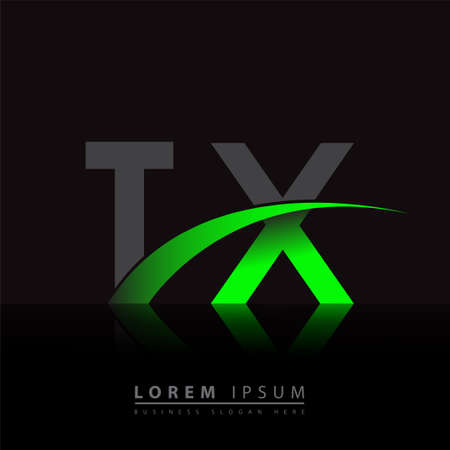 initial letter TX company name colored green and black swoosh design. vector for business and company identity.