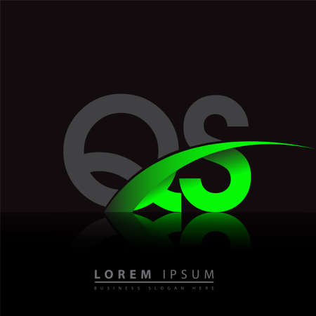 initial letter QS company name colored green and black swoosh design. vector for business and company identity.