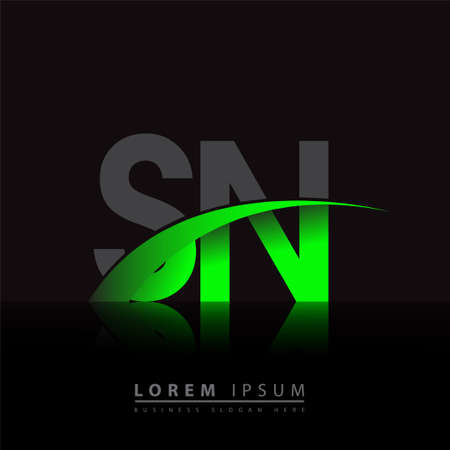 initial letter SN company name colored green and black swoosh design. vector for business and company identity.