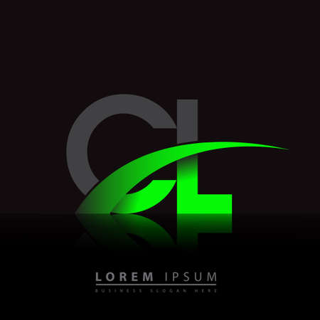 initial letter CL company name colored green and black swoosh design. vector for business and company identity. 向量圖像