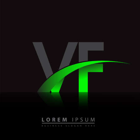 initial letter VF company name colored green and black swoosh design. vector for business and company identity.