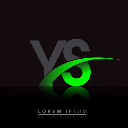 initial letter YS company name colored green and black swoosh design. vector for business and company identity.