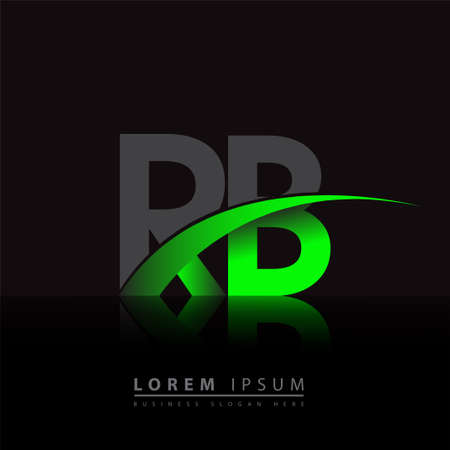 initial letter RB company name colored green and black swoosh design. vector for business and company identity.