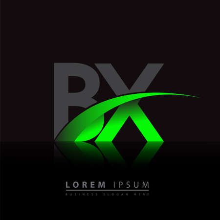initial letter BX company name colored green and black swoosh design. vector for business and company identity.