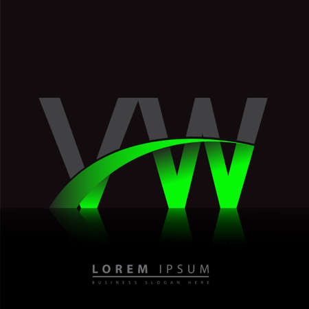 initial letter VW company name colored green and black swoosh design. vector for business and company identity.