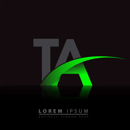initial letter TA company name colored green and black swoosh design. vector for business and company identity. 向量圖像