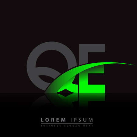 initial letter QE company name colored green and black swoosh design. vector for business and company identity.