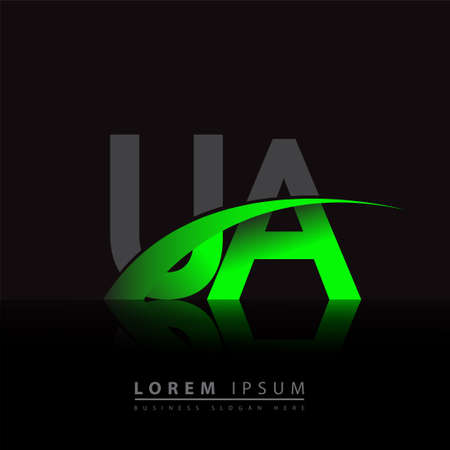 initial letter UA company name colored green and black swoosh design. vector for business and company identity.
