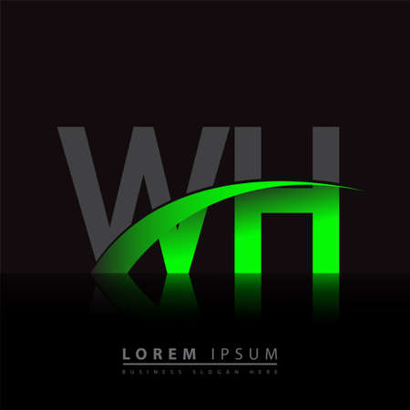 initial letter WH company name colored green and black swoosh design. vector for business and company identity.