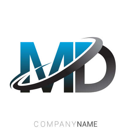 initial letter MD logotype company name colored blue and grey swoosh design. logo design for business and company identity.