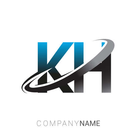 initial letter KH logotype company name colored blue and grey swoosh design. logo design for business and company identity.