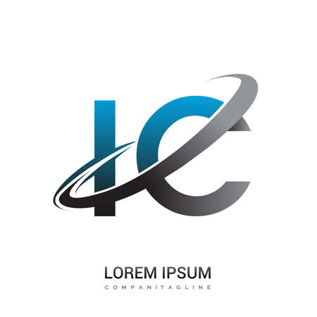 initial letter IC logotype company name colored blue and grey swoosh design. logo design for business and company identity.