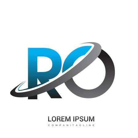 initial letter RO logotype company name colored blue and grey swoosh design. logo design for business and company identity.