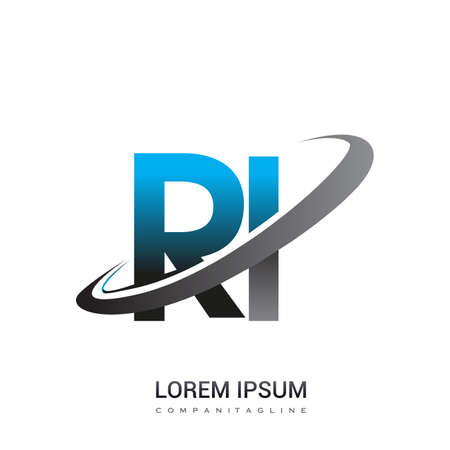 initial letter RI logotype company name colored blue and grey swoosh design. logo design for business and company identity.