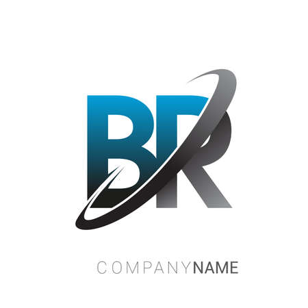 initial letter BR logotype company name colored blue and grey swoosh design. logo design for business and company identity.