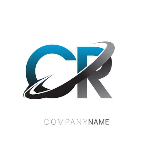 initial letter CR logotype company name colored blue and grey swoosh design. logo design for business and company identity.
