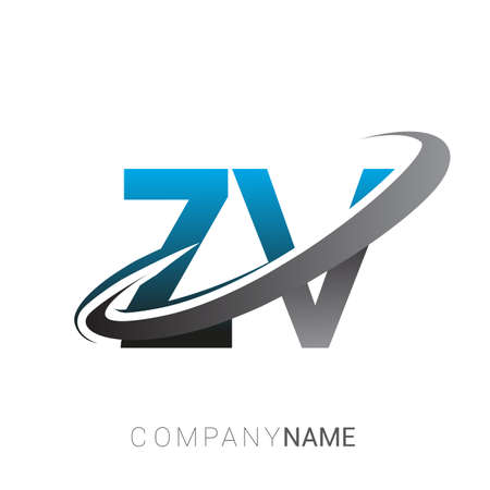 initial letter ZV logotype company name colored blue and grey swoosh design. logo design for business and company identity. Logo