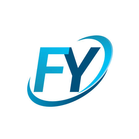 initial letter FY logotype company name colored blue swoosh design concept. vector logo for business and company identity.