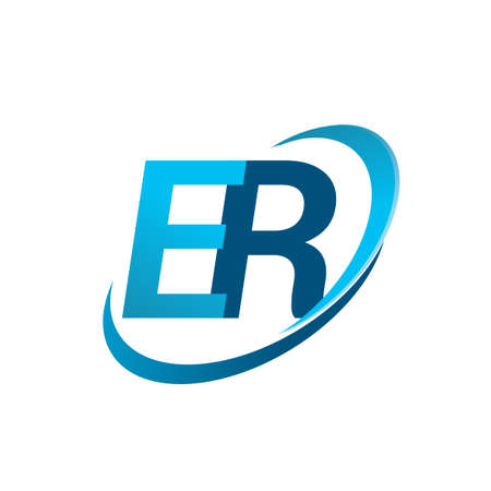 initial letter ER logotype company name colored blue swoosh design concept. vector logo for business and company identity. Illusztráció