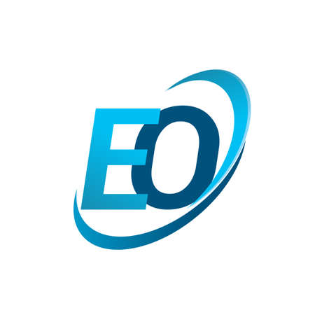 initial letter EO logotype company name colored blue swoosh design concept. vector logo for business and company identity.