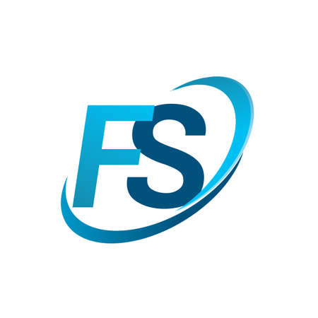 initial letter FS logotype company name colored blue swoosh design concept. vector logo for business and company identity.