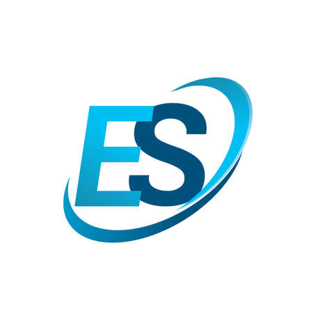 initial letter ES company name colored blue swoosh design concept. vector for business and company identity.