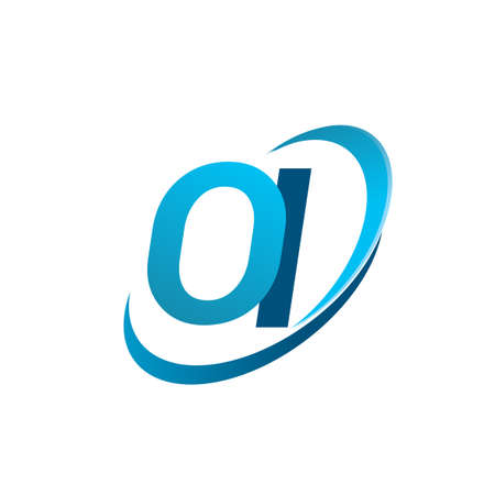 initial letter OI logotype company name colored blue swoosh design concept. vector logo for business and company identity.