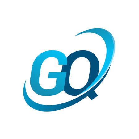 initial letter GQ logotype company name colored blue swoosh design concept. vector logo for business and company identity.