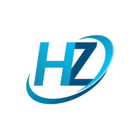 initial letter HZ logotype company name colored blue swoosh design concept. vector logo for business and company identity.