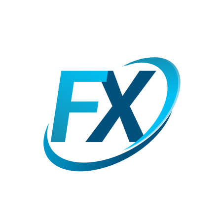 initial letter FX logotype company name colored blue swoosh design concept. vector logo for business and company identity.