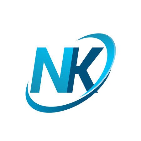 initial letter NK company name colored blue swoosh design concept. vector for business and company identity. Vektoros illusztráció