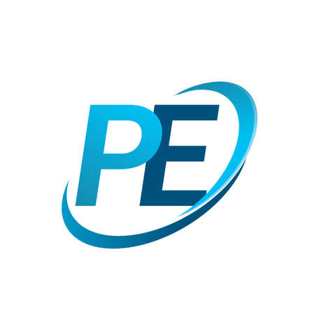 initial letter PE company name colored blue swoosh design concept. vector for business and company identity. Vektorové ilustrace