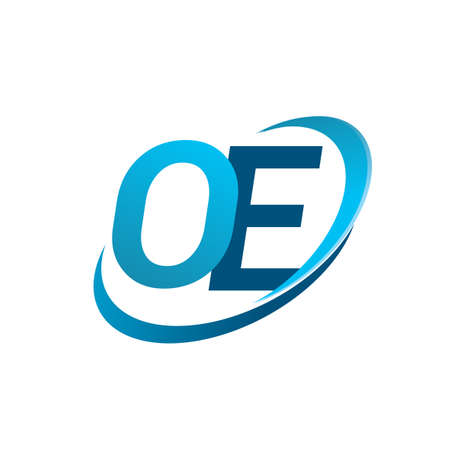 initial letter OE company name colored blue swoosh design concept. vector   for business and company identity. Ilustração