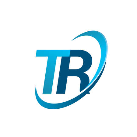 initial letter TR logotype company name colored blue swoosh design concept. vector logo for business and company identity.