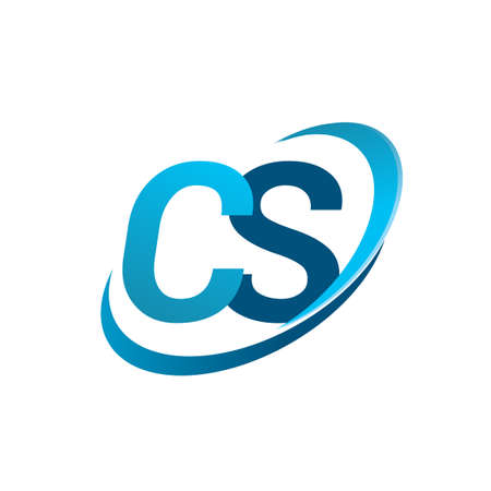 initial letter CS logotype company name colored blue swoosh design concept. vector logo for business and company identity. Logó