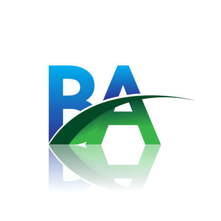 initial letter BA company name colored blue and green swoosh design. vector for business and company identity. Çizim