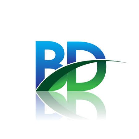 initial letter BD company name colored blue and green swoosh design. vector for business and company identity. Çizim