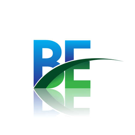 initial letter BE company name colored blue and green swoosh design. vector for business and company identity.