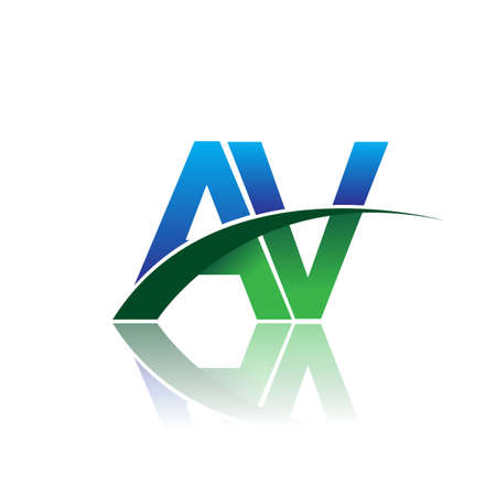 initial letter AV company name colored blue and green swoosh design. vector for business and company identity.